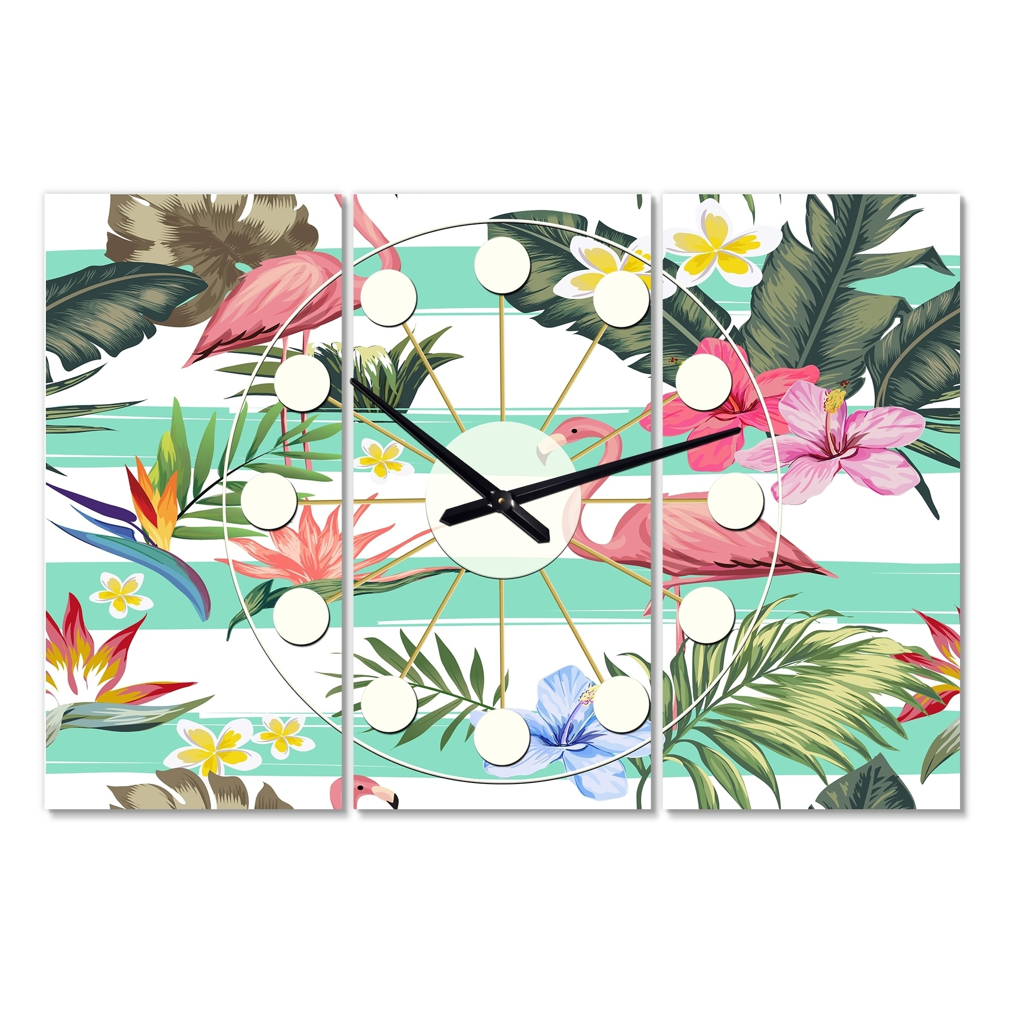 Designart Tropical Botanicals Flowers And Flamingo Oversized Mid Century Wall Clock 3 Panels Overstock 28735779