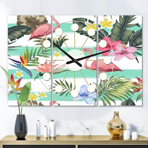 Designart 'Tropical Botanicals, Flowers and Flamingo' Oversized Mid-Century wall clock - 3 Panels