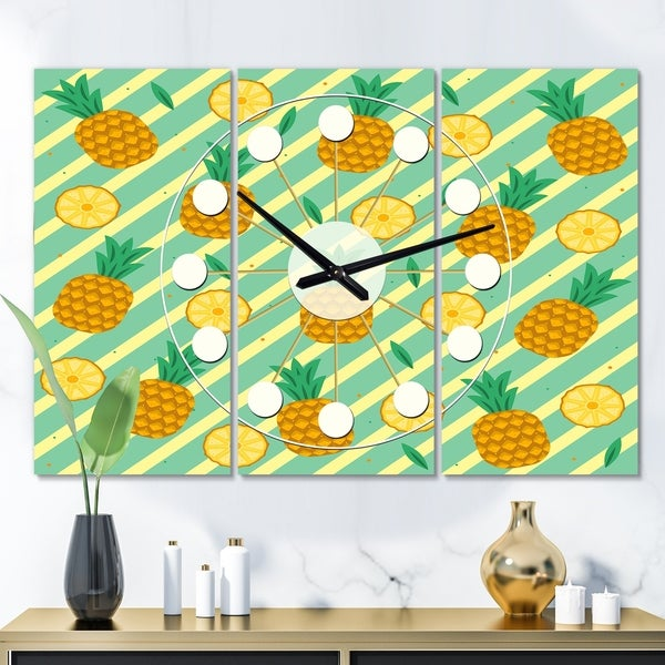 Designart 'Pineapple Summer Bliss I' Oversized Mid-Century wall clock - 3 Panels - 36 in. wide x 28 in. high - 3 Panels