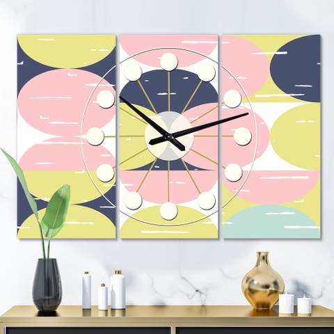 Designart 'Retro Pastel Circular Pattern I' Oversized Mid-Century wall clock - 3 Panels - 36 in. wide x 28 in. high - 3 Panels