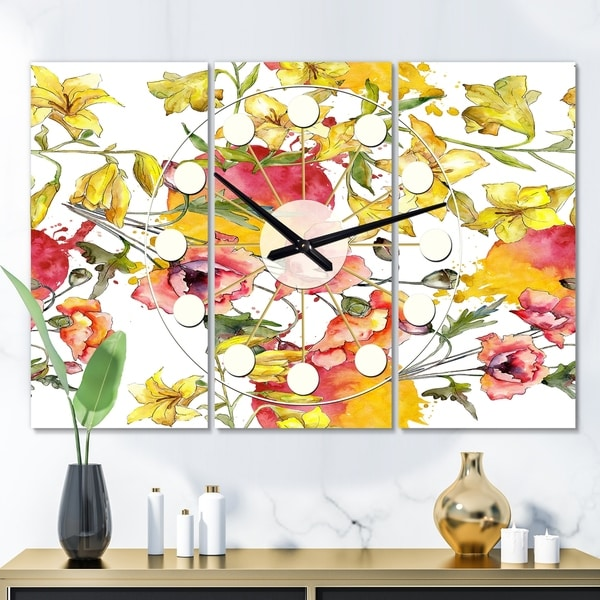 Designart 'Retro Handdrawn Poppies IV' Oversized Mid-Century wall clock - 3 Panels - 36 in. wide x 28 in. high - 3 Panels