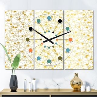 Designart 'Golden Maze II' Oversized Mid-Century wall clock - 3 Panels - 36 in. wide x 28 in. high - 3 Panels