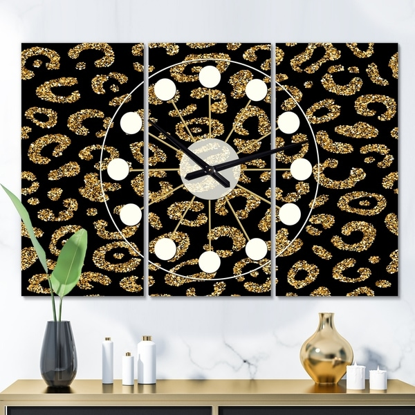 Designart 'Golden Leopard Fur' Oversized Mid-Century wall clock - 3 Panels - 36 in. wide x 28 in. high - 3 Panels