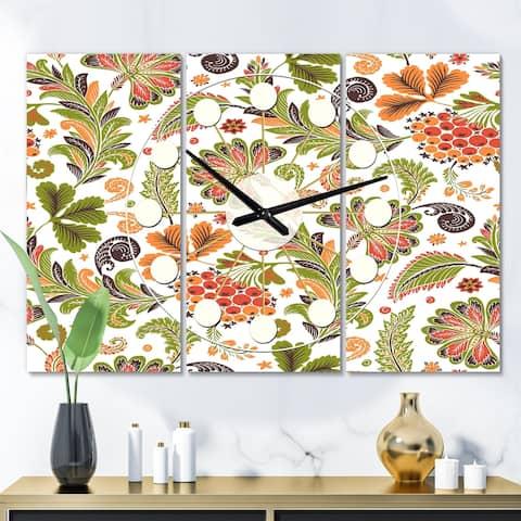 Designart 'Retro Fantasy Flowers I' Oversized Mid-Century wall clock - 3 Panels - 36 in. wide x 28 in. high - 3 Panels