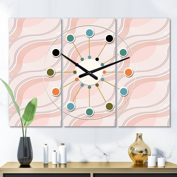 Designart 'Pink Elegant Pastel Waves' Oversized Mid-Century wall clock - 3 Panels - 36 in. wide x 28 in. high - 3 Panels
