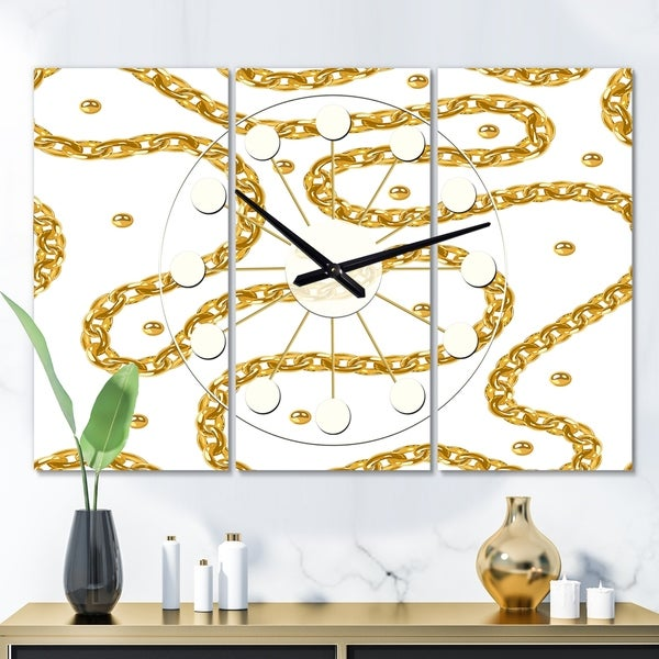 Designart 'Golden Chain Necklace' Oversized Mid-Century wall clock - 3 Panels - 36 in. wide x 28 in. high - 3 Panels