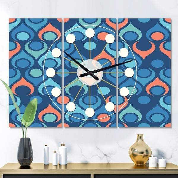 Designart 'Retro Abstract Drops X' Oversized Mid-Century wall clock - 3 Panels - 36 in. wide x 28 in. high - 3 Panels
