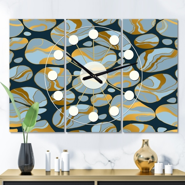 Designart 'Golden Marble Design IV' Oversized Mid-Century wall clock - 3 Panels - 36 in. wide x 28 in. high - 3 Panels