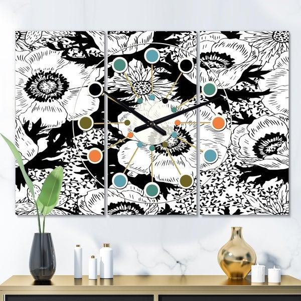 Designart 'Retro Monochrome Flowers Pattern' Oversized Mid-Century wall clock - 3 Panels - 36 in. wide x 28 in. high - 3 Panels
