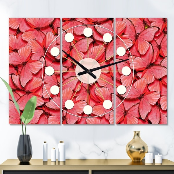 Designart 'Coral Pink Butterflies' Oversized Mid-Century wall clock - 3 Panels - 36 in. wide x 28 in. high - 3 Panels