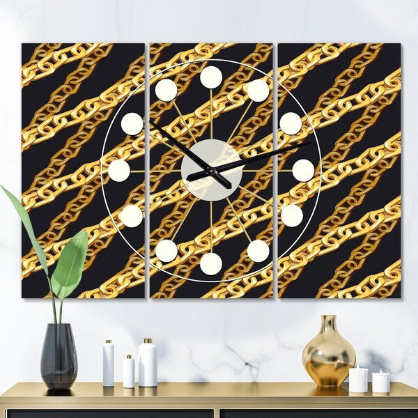 Designart 'Golden ZigZag Chain' Oversized Mid-Century wall clock - 3 Panels - 36 in. wide x 28 in. high - 3 Panels