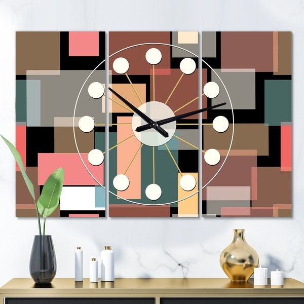 Designart 'Retro Square Design II' Oversized Mid-Century wall clock - 3 Panels - 36 in. wide x 28 in. high - 3 Panels