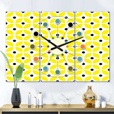 Designart 'Retro Geometric Design I' Oversized Mid-Century wall clock - 3 Panels - 36 in. wide x 28 in. high - 3 Panels
