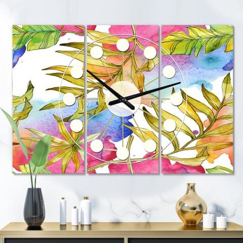 Designart 'Tropical Foliage IV' Oversized Mid-Century wall clock - 3 Panels - 36 in. wide x 28 in. high - 3 Panels