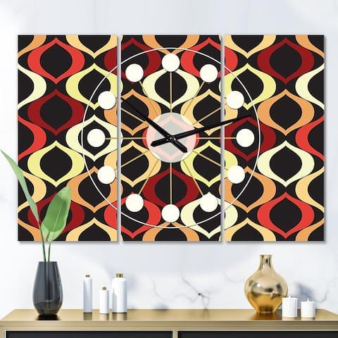 Designart 'Abstract Retro Geometrical Design VIII' Oversized Mid-Century wall clock - 3 Panels