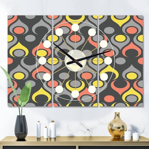 Designart 'Retro Abstract Drops I' Oversized Mid-Century wall clock - 3 Panels - 36 in. wide x 28 in. high - 3 Panels