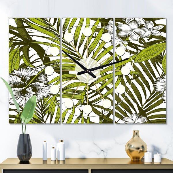Designart 'Tropical Palm Leaves I' Oversized Mid-Century wall clock - 3 Panels - 36 in. wide x 28 in. high - 3 Panels