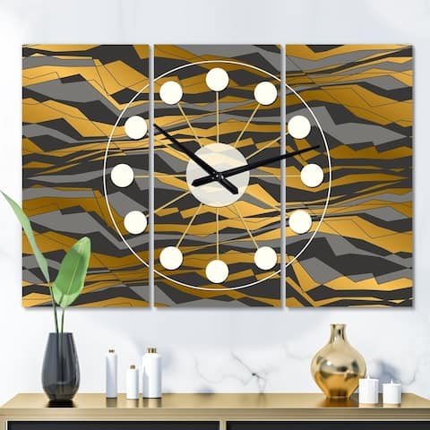 Designart 'Angled lines and waves pattern' Oversized Mid-Century wall clock - 3 Panels - 36 in. wide x 28 in. high - 3 Panels