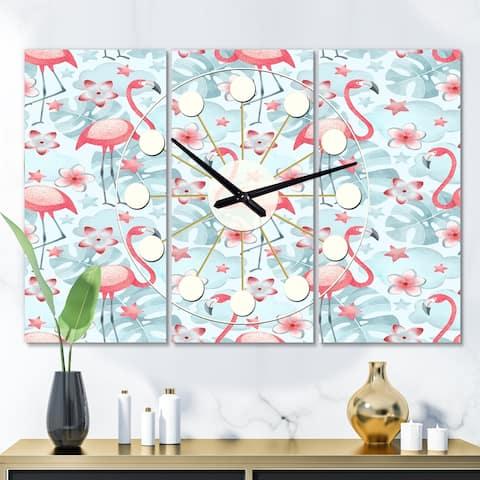 Designart 'Tropical Botanicals, Flowers and Flamingo III' Oversized Mid-Century wall clock - 3 Panels