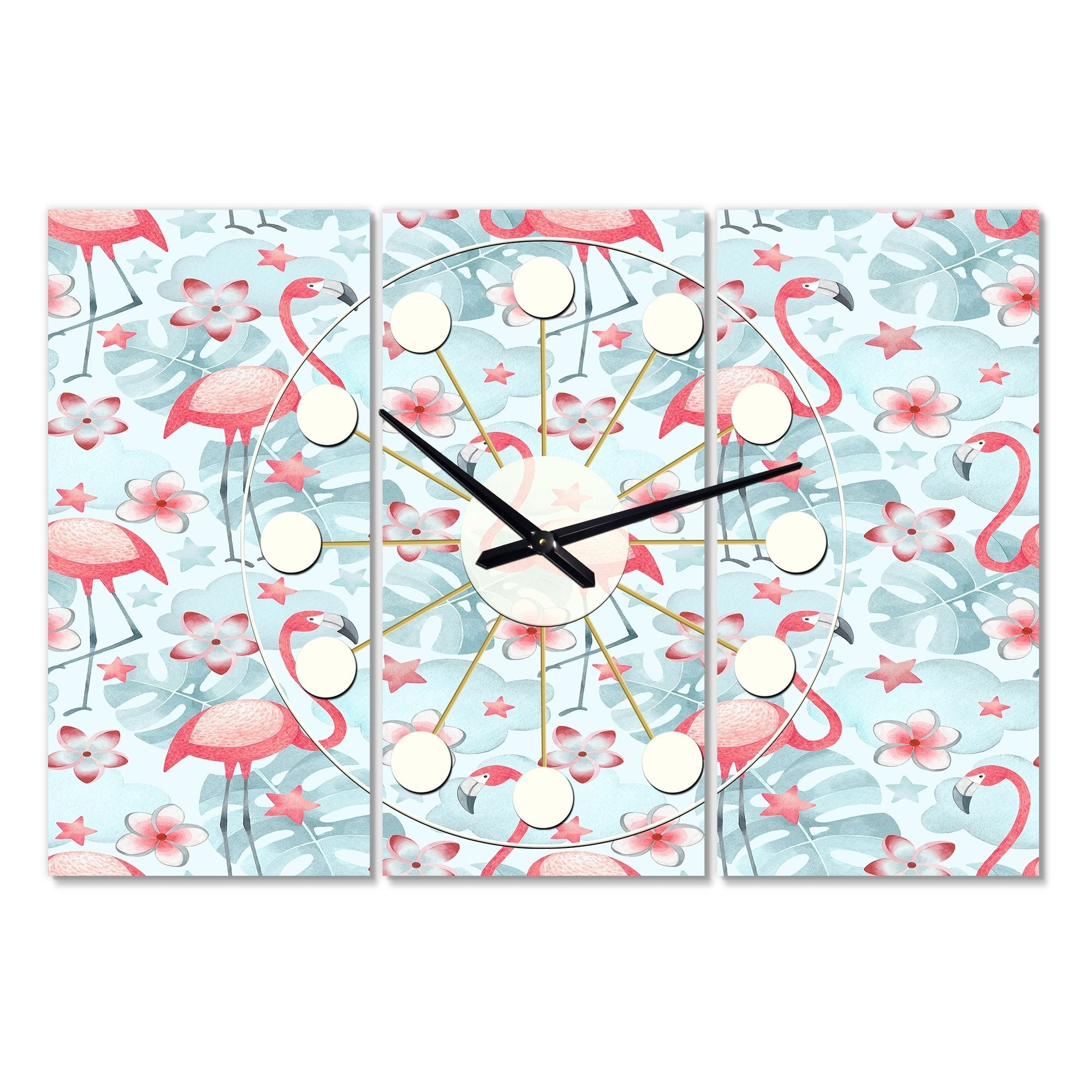 Designart Tropical Botanicals Flowers And Flamingo Iii Oversized Mid Century Wall Clock 3 Panels On Sale Overstock 28735846