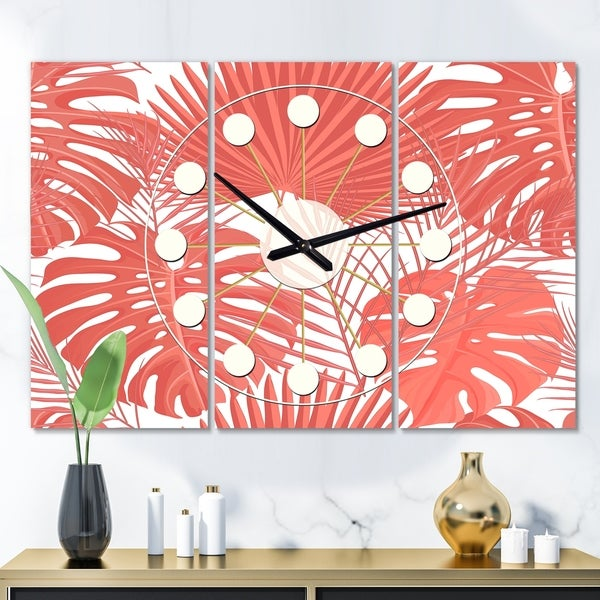 Designart 'Tropical Retro Foliage Coral I' Oversized Mid-Century wall clock - 3 Panels - 36 in. wide x 28 in. high - 3 Panels