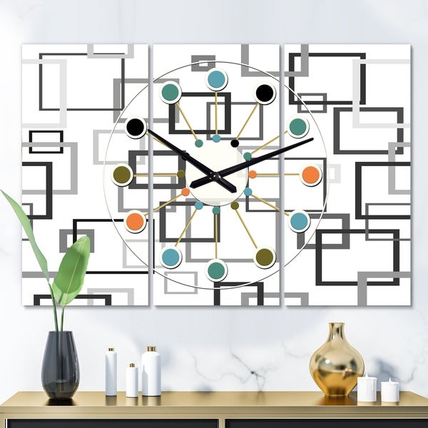 Designart 'Abstract Retro Design II' Oversized Mid-Century wall clock - 3 Panels - 36 in. wide x 28 in. high - 3 Panels