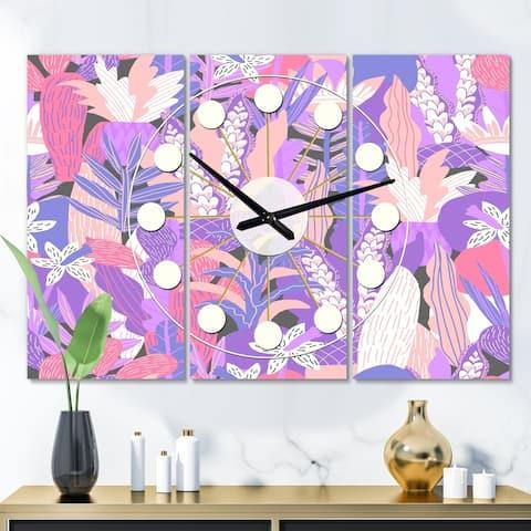 Designart 'Fantasy Flowers in Purple' Oversized Mid-Century wall clock - 3 Panels - 36 in. wide x 28 in. high - 3 Panels