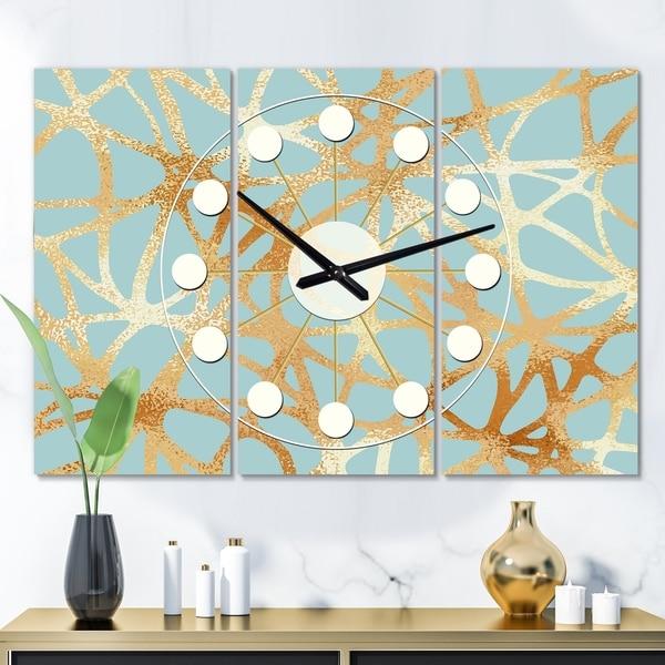 Designart 'Golden Luxury Metallic Geometrics IV' Oversized Mid-Century wall clock - 3 Panels