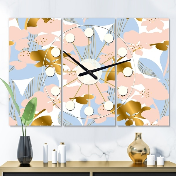 Designart 'Golden Foliage XV' Oversized Mid-Century wall clock - 3 Panels - 36 in. wide x 28 in. high - 3 Panels