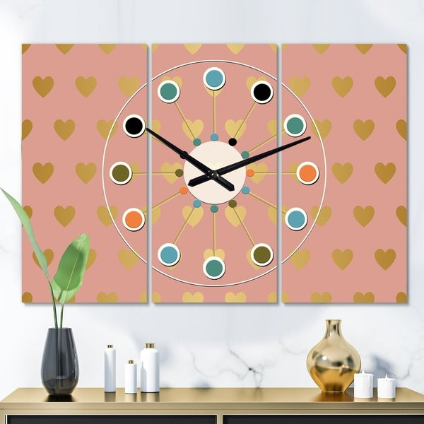 Designart 'Gold Hearts On Pink' Oversized Mid-Century wall clock - 3 Panels - 36 in. wide x 28 in. high - 3 Panels