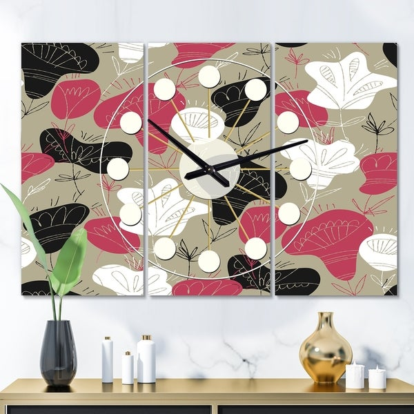 Designart 'Folk flowers hand drawn pattern' Oversized Mid-Century wall clock - 3 Panels - 36 in. wide x 28 in. high - 3 Panels