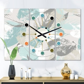 Designart 'Retro Foliage Design I' Oversized Mid-Century wall clock - 3 Panels - 36 in. wide x 28 in. high - 3 Panels