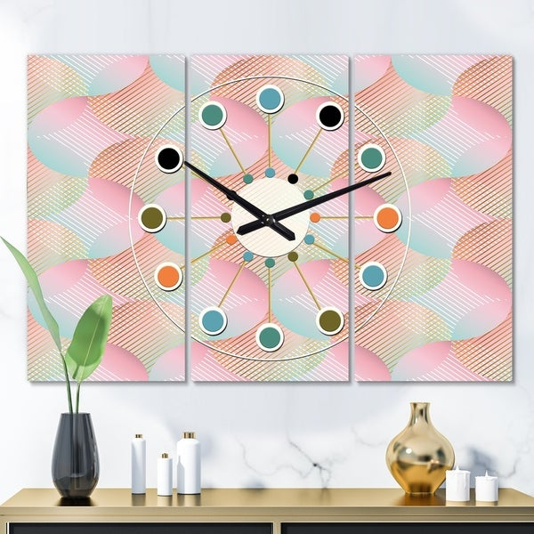 Designart 'Abstract Design Retro Pattern VII' Oversized Mid-Century wall clock - 3 Panels - 36 in. wide x 28 in. high - 3 Panels