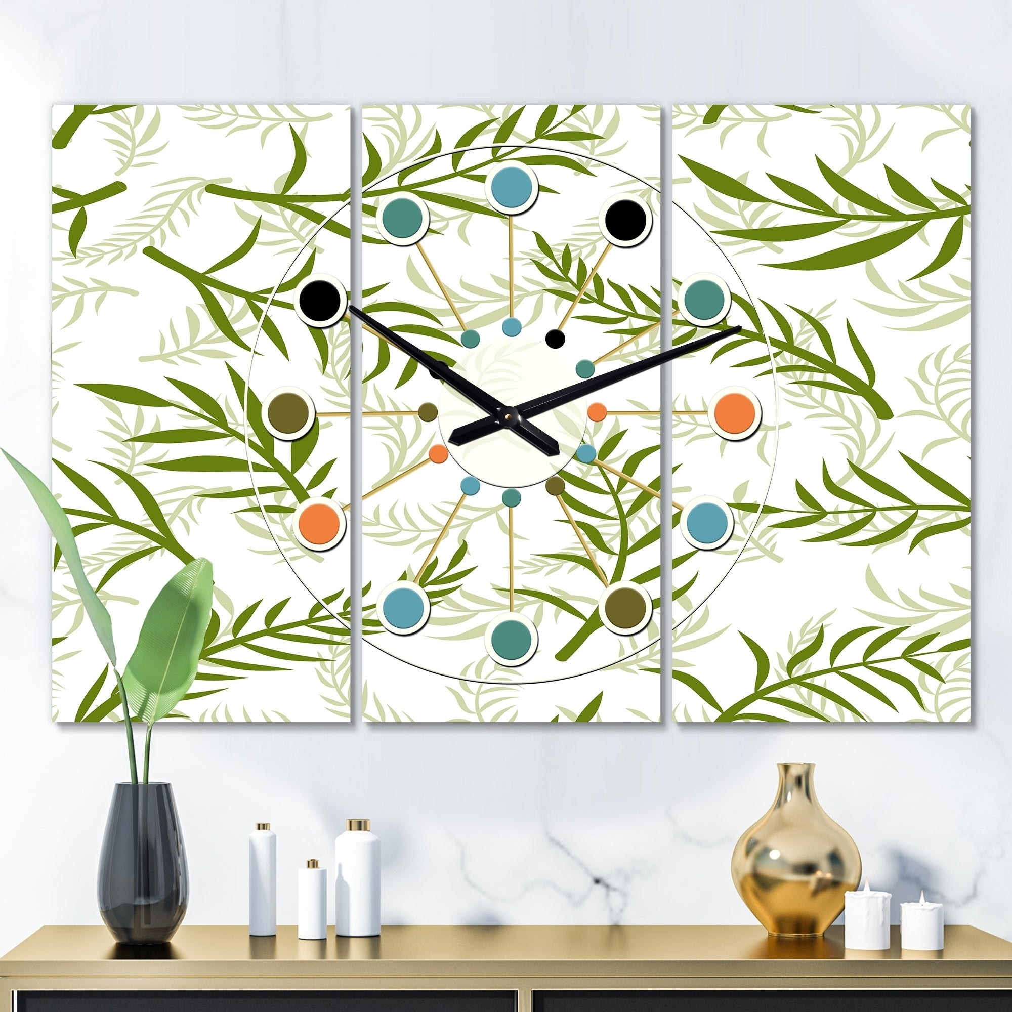 Designart Tropical Botanicals I Oversized Mid Century Wall Clock 3 Panels 36 In Wide X 28 In High 3 Panels On Sale Overstock 28735880