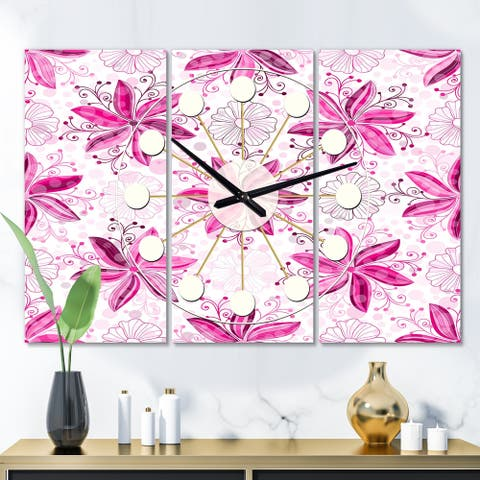 Designart 'Retro Floral Pattern XII' Oversized Mid-Century wall clock - 3 Panels - 36 in. wide x 28 in. high - 3 Panels