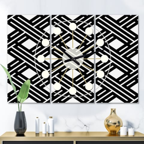 Designart 'Monochrome Geometric Pattern II' Oversized Mid-Century wall clock - 3 Panels - 36 in. wide x 28 in. high - 3 Panels