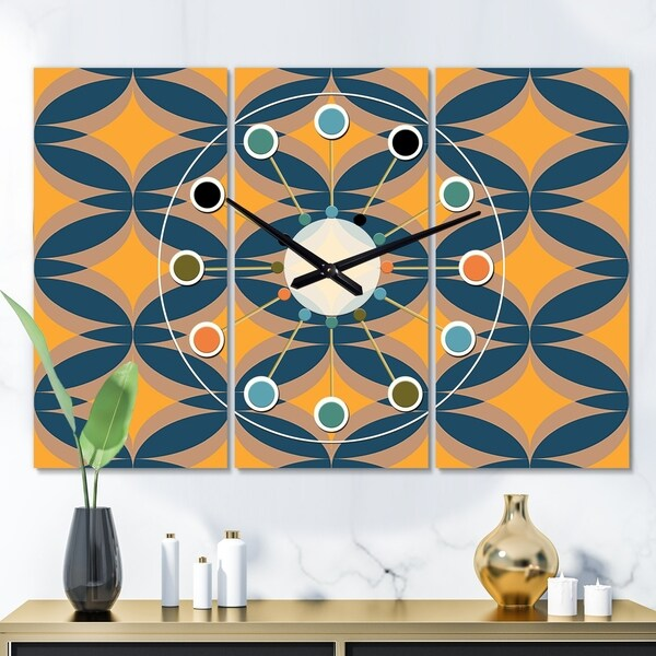 Designart 'Abstract Retro Design III' Oversized Mid-Century wall clock - 3 Panels - 36 in. wide x 28 in. high - 3 Panels