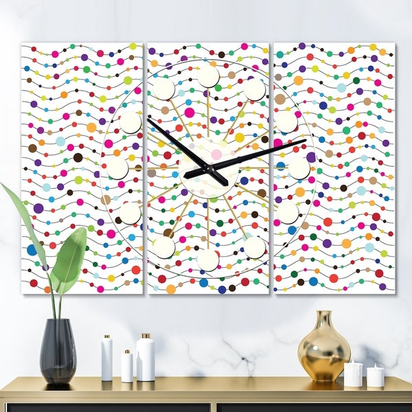 Designart 'Color Waves of Polka Dots' Oversized Mid-Century wall clock - 3 Panels - 36 in. wide x 28 in. high - 3 Panels