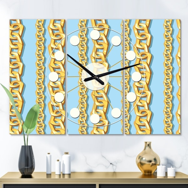 Designart 'Gold Chain Pattern' Oversized Mid-Century wall clock - 3 Panels - 36 in. wide x 28 in. high - 3 Panels