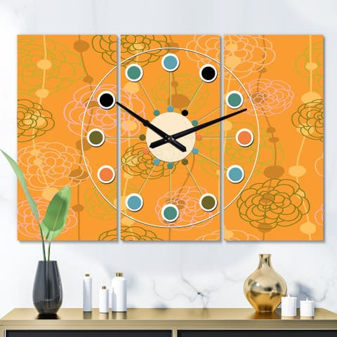 Designart 'Retro handdrawn flowers III' Oversized Mid-Century wall clock - 3 Panels - 36 in. wide x 28 in. high - 3 Panels