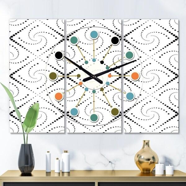 Designart 'Retro Geometrical Abstract Minimal Pattern III' Oversized Mid-Century wall clock - 3 Panels