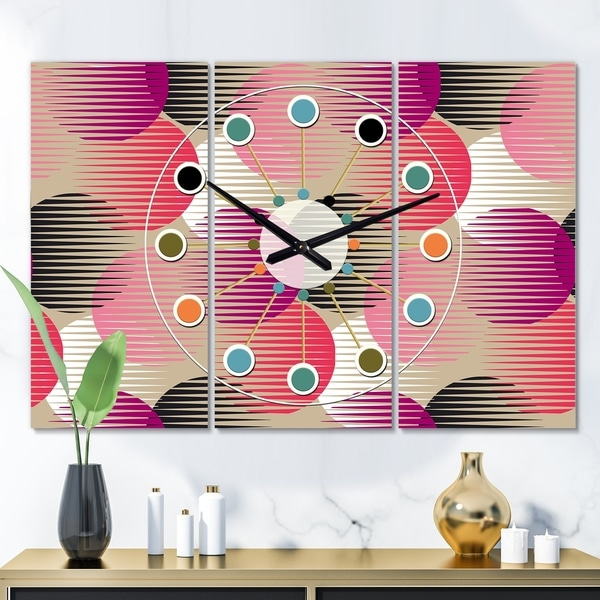 Designart 'Retro Circular Pattern VIII' Oversized Mid-Century wall clock - 3 Panels - 36 in. wide x 28 in. high - 3 Panels