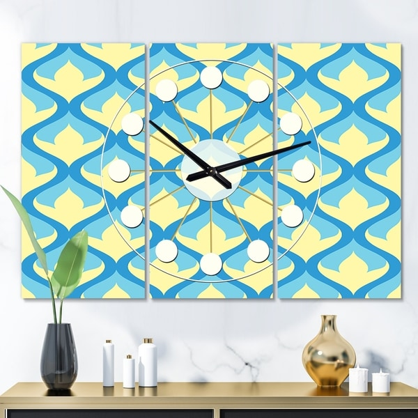 Designart 'Retro Pattern Abstract Design IX' Oversized Mid-Century wall clock - 3 Panels - 36 in. wide x 28 in. high - 3 Panels