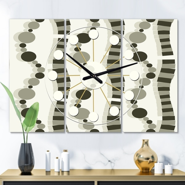 Designart 'Monochrome Geometric Pattern VI' Oversized Mid-Century wall clock - 3 Panels - 36 in. wide x 28 in. high - 3 Panels