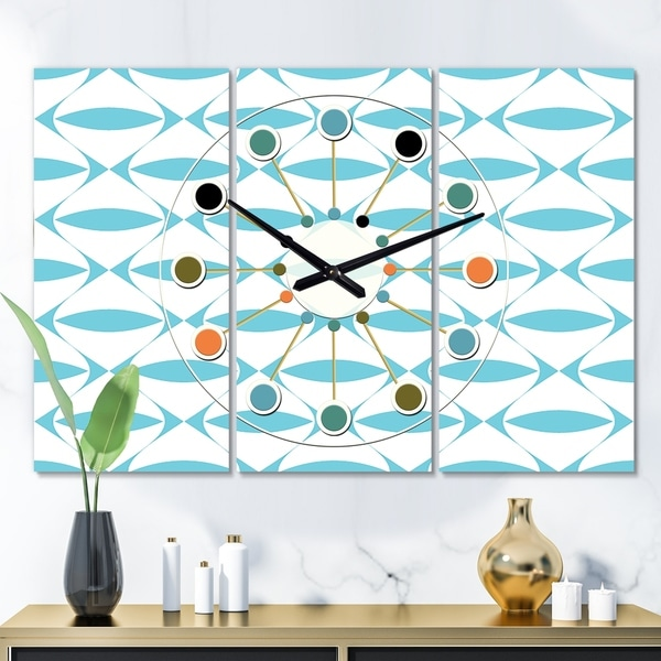 Designart 'Abstract Retro Geometrical Design III' Oversized Mid-Century wall clock - 3 Panels