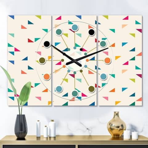 Designart 'Abstract Triangular Retro Pattern I' Oversized Mid-Century wall clock - 3 Panels
