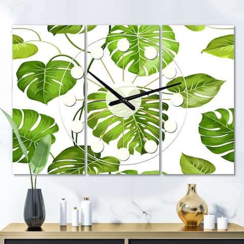 Designart 'Tropical Palm Leaves II' Oversized Mid-Century wall clock - 3 Panels - 36 in. wide x 28 in. high - 3 Panels