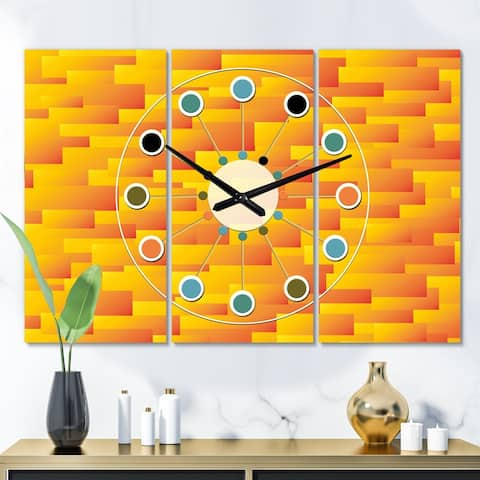 Designart 'Retro Square Design VIII' Oversized Mid-Century wall clock - 3 Panels - 36 in. wide x 28 in. high - 3 Panels