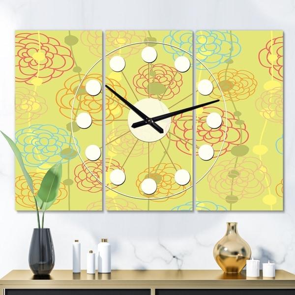 Designart 'Retro Handdrawn Flowers On Green Background' Oversized Mid-Century wall clock - 3 Panels