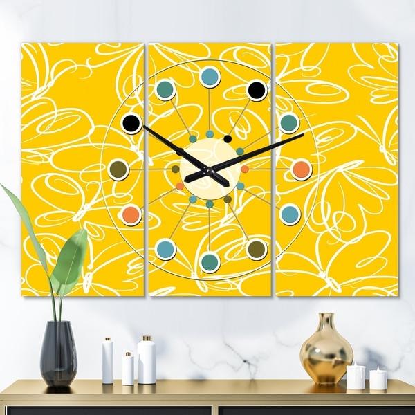 Designart 'Butterflies hand drawn color pattern' Oversized Mid-Century wall clock - 3 Panels